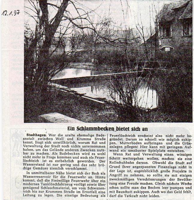 Zeitungsartikel vom 12.01.1997 über die Freibadeanstalt an der Krummen Straße